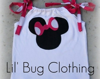 Custom Boutique Clothing Hot Pink and White Minnie Mouse Top