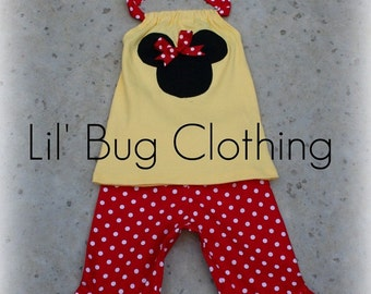 Custom Boutique Clothing Red and Yellow Minnie Mouse Capri and Halter Top