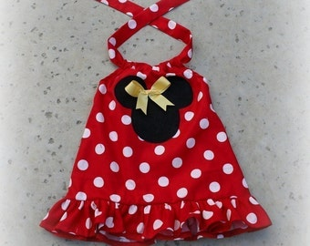 Custom Boutique Red Minnie Mouse Halter Swing Top