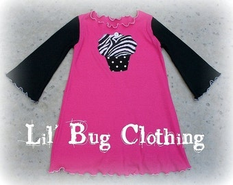 Custom Boutique Pink Black Zebra Cupcake Knit Dress 12 18 24 2t 3t 4t 5t 6 girl