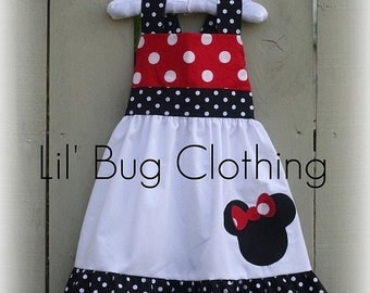 Custom Boutique Clothing Minnie Muuse Red and Black DOts Jumper Dress