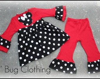 Minnie Mouse Black White Polka Dot and Red Lettuce Edge Top and Leggings 12 18 24 2t 3t 4t 5t 6 girl