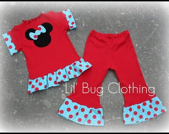 Custom Boutique Clothing Minnie Red Knit Pant and Tee 12 18 24 2t 3t 4t 5t 6