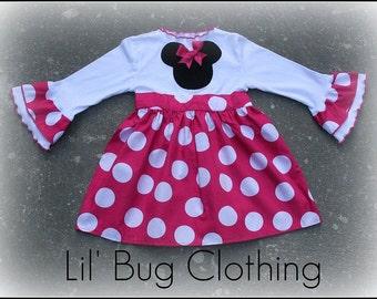 Custom Boutique Hot Pink  Jumbo Dot Minnie Mouse Dress Girl