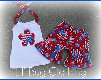 Custom Boutique Clothing 4th of July FlowerFlower Short and Halter Girl