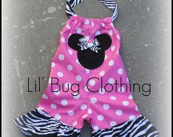 Custom Boutique Minnie zebra pink dot shortall size 12 18 24 2t 3t 4t 5t girl