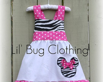 Custom Boutique Clothing Fall Minnie Mouse Zebra and Pink Polka Dots Jumper Dress
