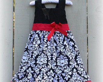 Custom Boutique Clothing Holiday Christmas  Black Damask Jumper Dress