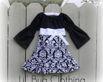 Christmas Holiday Christmas  Custom Boutique Black White  Damask Peasant Dress Girl