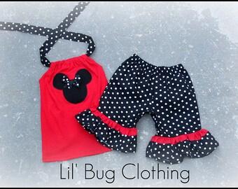 Custom Boutique Clothing Black White Dot Minnie Mouse Short Halter Set