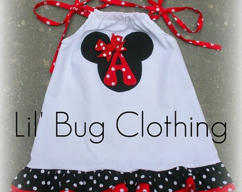 Custom Boutique Clothing Girl White Red and Black Minnie Mouse Dress