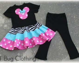 Custom Boutique Clothing Minnie Mouse Zebra and Pink Dots Tiered Top and Leggings Girl