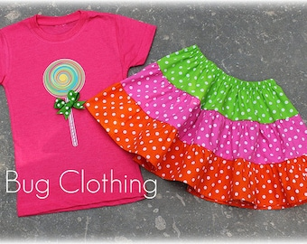 Custom Boutique Clothing Clothing Lollipop Tiered Skirt and Tee Birthday Girl Summer