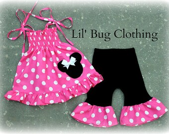 Custom Boutique Clothing Hot Pink and White Polka Dot Minnie Mouse Smocked Top and Capris