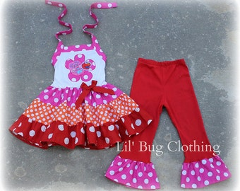 Custom Boutique Clothing Abby Cadabby and Elmo Tiered Top and Pant Birthday Sesame Street