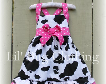 Western Wear Dress, Country Cow Print Dress, Hot Pink And Cow Girl Dress, Western Birthday Party Dress