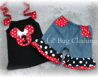 Minnie Mouse Outfit, Minnie Mouse Short & Halter Top, Personalized Minnie Mouse Outfit, Red White Black Polka Dot Minnie Outfit