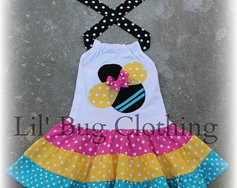 Bumble Bee Dress, Bumble Bee Outfit,  Pink Yellow Teal Bumble Bee Tiered Summer Dress