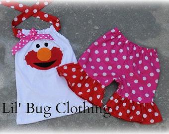 Elmo Polka Dot Hot Pink and Red Short and Halter Top Spring Summer  Set Birthday Girl Bow