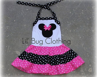 Hot Pink White Polka Dot Minnie Mouse Dress, Minnie Mouse Girl Clothes, Minnie Mouse Pink Dress, Minnie Mouse Birthday Dress