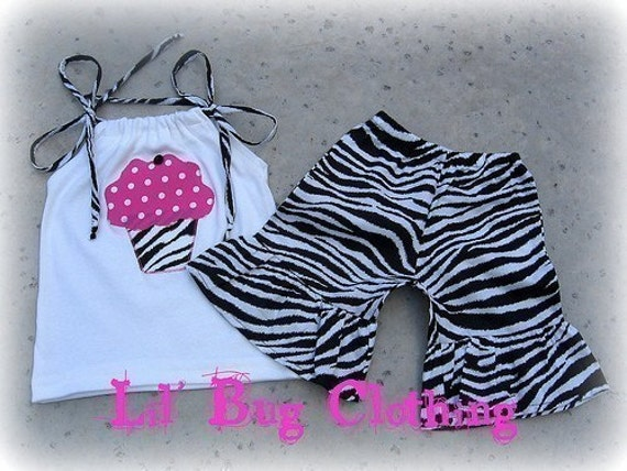 Cupcake Girls Outfit, Zebra & Pink Dots Cupcake Birthday Girl Outfit, Boutique Girl Summer Clothing