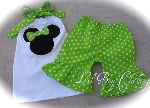 2T ONLY on CLEARANCE NOW Custom Boutique Lime Minnie Disney Short set