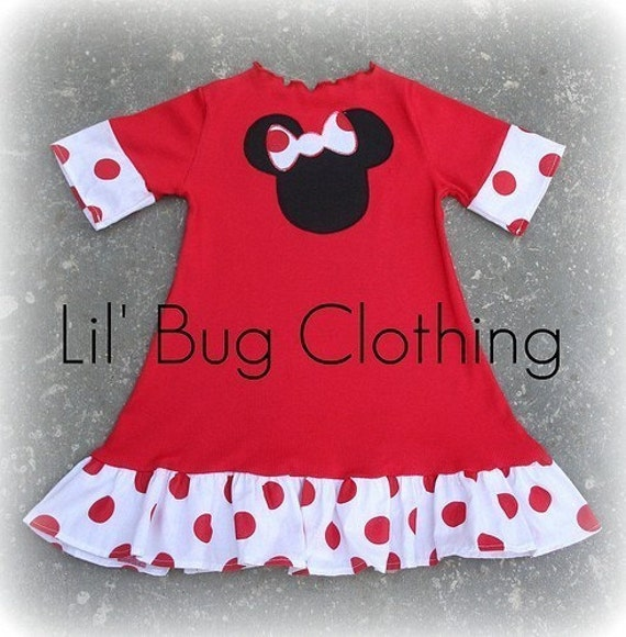 Custom Boutique Clothing Red Knit Minnie Mouse Girls Polka Dot Dress