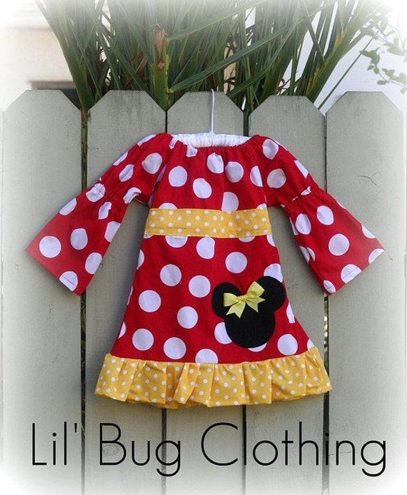 Custom Minnie Mouse Red and Yellow Fall Girls Peasant Dress