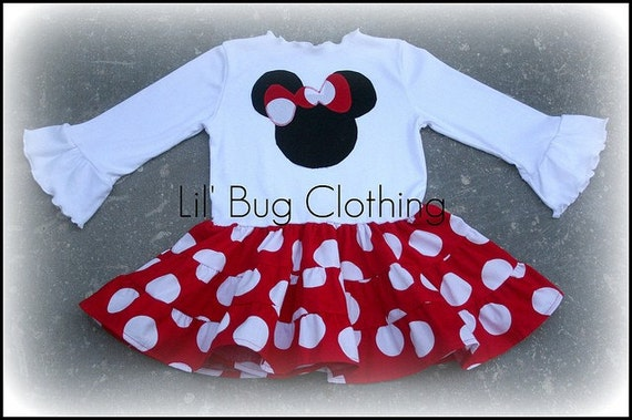 Custom Boutique Red Jumbo Dot Minnie Mouse Tiered Girls Dress