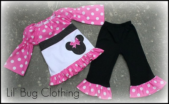 Minnie Mouse Pink and Black Fall Peasant Top  and Leggings Girl