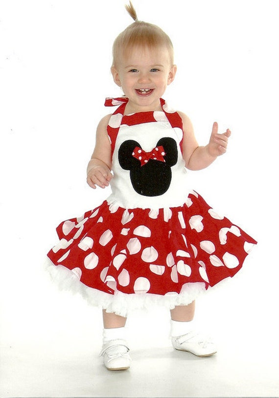 Custom Boutique Red Jumbo Dot Minnie Mouse Tiered Halter Dress Girls Dress