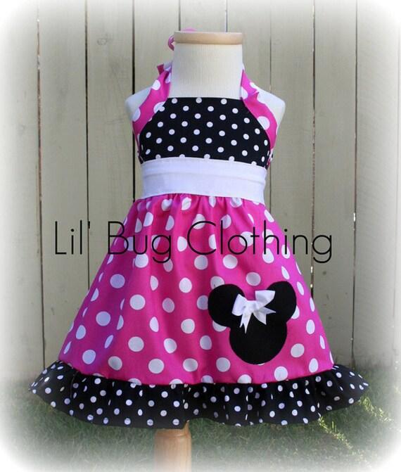 Custom Boutique Clothing Black White Hot Pink  Dot White Sash  Minnie Mouse Halter Dress