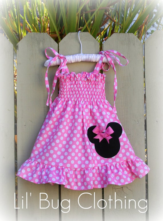 Custom Boutique Smocked Baby Pink Minnie  Dress size 12 18 24 2t 3t 4t 5t 6 7 girl