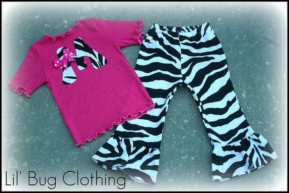 Custom Boutique Clothing Fall Pink Initial Personalized Zebra Tee and Pant Outfit Birthday