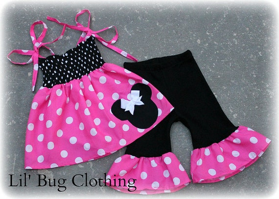 Custom Boutique Clothing Hot Pink and White Minnie Mouse Smocked Top and Capris