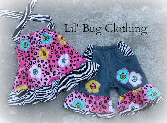 2T On SALE NOW  Custom Boutique Leopard Summer Flower Print Denim Short and halter top