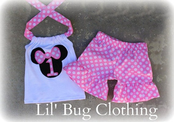 Birthday Girl Minnie Mouse Outfit, Birthday Girl Pink Minnie Outfit, Personalized Minnie Mouse Short Halter Top Outfit,