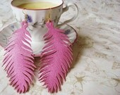 Feather Earrings Pink Leather