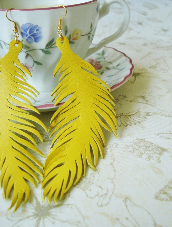 Feather Earrings Yellow Leather