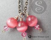3 Pink Catseye Fushia Crystal GEMDrops, beads, Jewelry Findings, Supplies