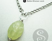 Carved New Jade Lotus Blossom Pendant Findings, Jewelry Findings, Supplies