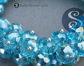 NEW 10 GEMDrops Azul Austrian Crystals Sterling Silver Fill Wrapped, Beads, Jewelry Findings, Supplies