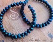 Metallic Jean Blue Crystal Beaded Hoop, Earrings, Jewelry Findings, Supplies