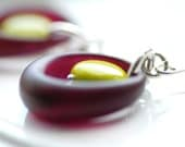 Eggplant Purple and Olive Green Earrings, Aubergine Vintage Lucite, Lucite Jewelry, Mod Earrings, Olive, Sterling Silver, Jewel Tone