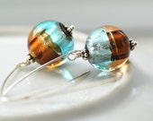 ON SALE, SHIPS October 21 Glass Foil Earrings, Sterling Silver, Copper and Aqua Shimmer- simplify