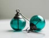 Deep Sea, Handmade Earrings, Dark Teal Artisan Glass and Oxidized Sterling Silver