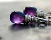 Amethyst Earrings, Purple Amethyst Gemstone Earrings, Wire Wrapped Sterling Silver February Birthstone