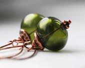 Copper Earrings, Green Earrings, Olive Green  Earrings, Hollow Glass, Woodland, Moss Green, Dangle Earrings - Taboo