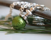 Green Glass Necklace, Victorian Style, Sugared Textured Glass on Sterling Silver Chain - Christmas Eve