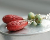 Retro Earrings, Robin's Egg Blue Glass, Cranberry Red Vintage Acrylic and Sterling Silver- Retro Mod